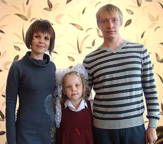 Екатерина и Дмитрий Васильевы и дочь Вика (Ведлозеро, Карелия)