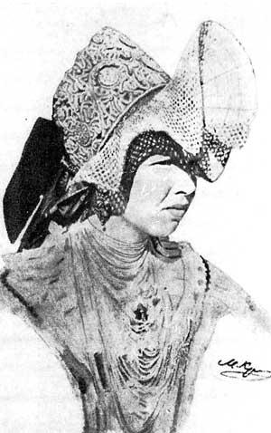 Карельская девушка в свадебном кокошнике. Конец XIX века