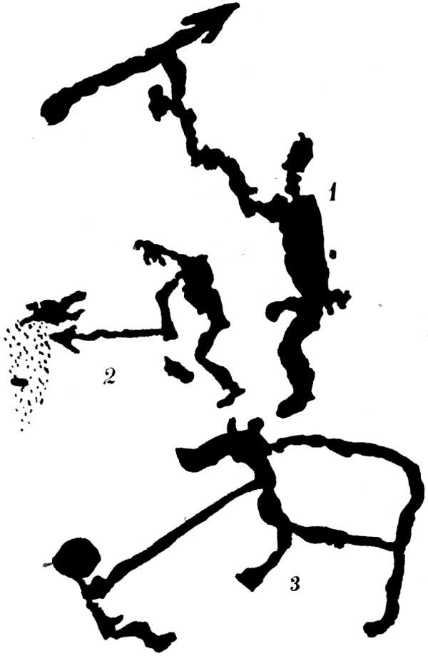 Табл. 21 Применение копья (1 - человек с копьем, 2 - человек колет хищника, 3 - человек колет медведя)