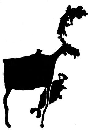 Петроглифы. Раненый лось и ластаногое животное.