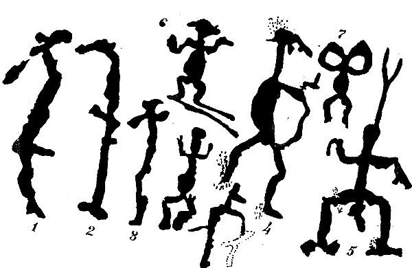 Серия изображения духов на скалах Онежского озера.