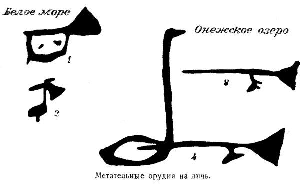 Метательные орудия на дичь. Петроглифы