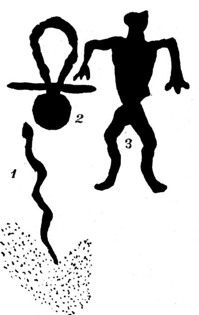 Культовая композиция Залавруги (змея, бубен и колотушка, человеческая фигура)